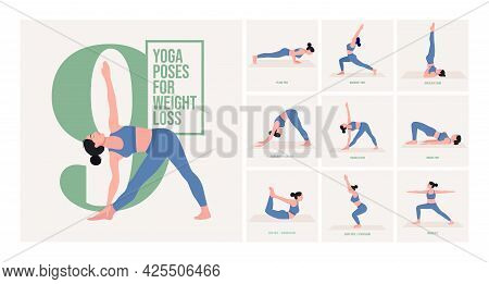 Yoga Poses For Flat Tummy. Young Woman Practicing Yoga Pose. Woman Workout Fitness, Aerobic And Exer