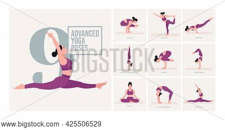 Advanced Yoga Poses. Young Woman Practicing Yoga Pose. Woman Workout Fitness, Aerobic And Exercises.