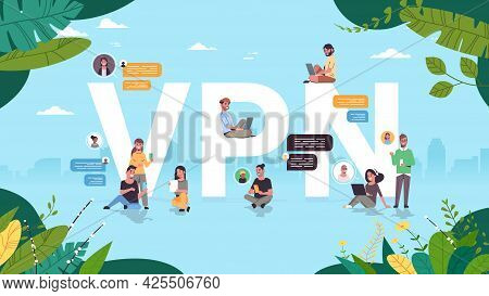 People Using Virtual Private Network Vpn For Communication Cyber Security And Privacy Concept