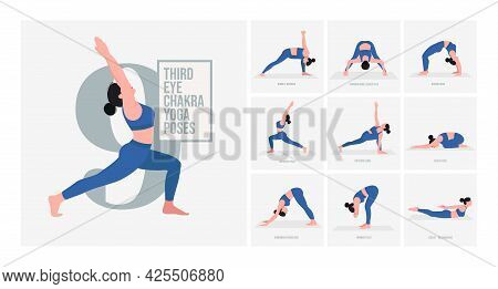 Third Eye Chakra Yoga Poses. Young Woman Practicing Yoga Pose. Woman Workout Fitness, Aerobic And Ex