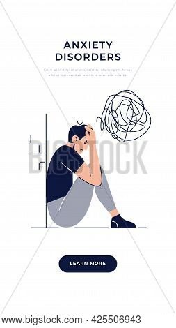 Anxiety Disorders Banner. Frustrated Stressed Man With Nervous Problem Feels Anxiety, Closing Face.