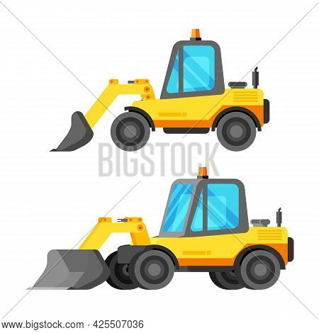 Bulldozer Construction Machinery Isolated On White. Yellow Bulldozer Side View. Plastic Children Toy