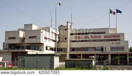 Bologna - Italy - June 23, 2021: Fire Department Headquarters Of Bologna (caserma Dei Vigili Del Fuo