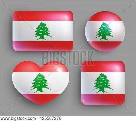Set Of Glossy Buttons With Lebanon Country Flag. Middle East Country National Flag, Shiny Geometric