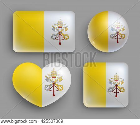 Set Of Glossy Buttons With Vatican Country Flag. Europe Country National Flag Shiny Badges Of Geomet