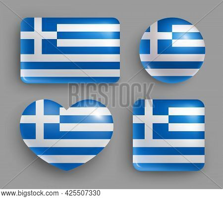 Set Of Glossy Buttons With Greece Country Flag. South Europe Country National Flag Shiny Badges Of G