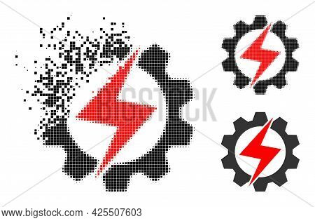 Dissipated Pixelated Energy Industry Pictogram With Halftone Version. Vector Wind Effect For Energy