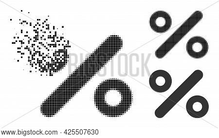 Broken Dot Percent Icon With Halftone Version. Vector Destruction Effect For Percent Icon. Pixel Dis
