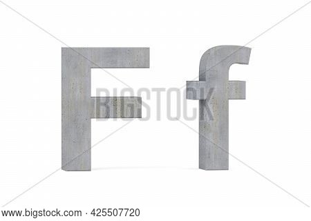 Concrete 3d Letter F - Three Dimensional Uppercase And Lowercase F Covered With Concrete Texture On