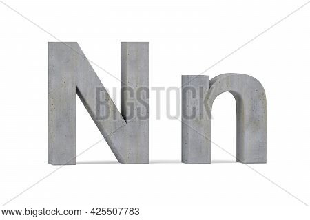 Concrete 3d Letter N - Three Dimensional Uppercase And Lowercase N Covered With Concrete Texture On