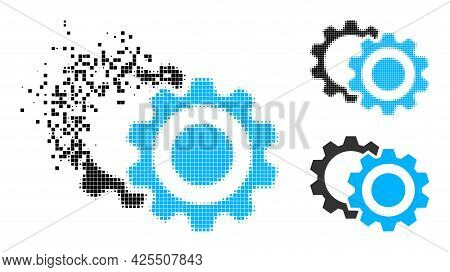 Fragmented Pixelated Gears Icon With Halftone Version. Vector Destruction Effect For Gears Pictogram