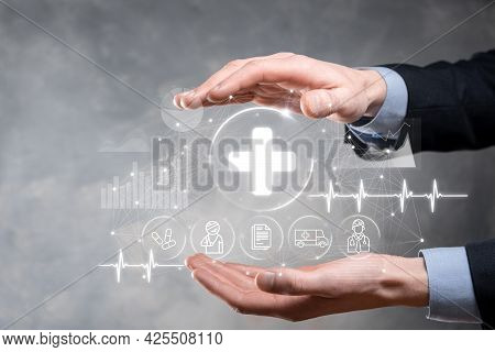 Businessman Hold Virtual Plus Medical Network Connection Icons. Covid-19 Pandemic Develop People Awa