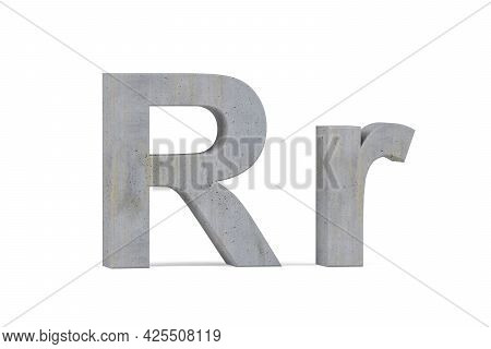 Concrete 3d Letter R - Three Dimensional Uppercase And Lowercase R Covered With Concrete Texture On