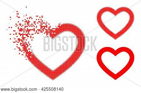 Erosion Dotted Romantic Heart Icon With Halftone Version. Vector Wind Effect For Romantic Heart Icon