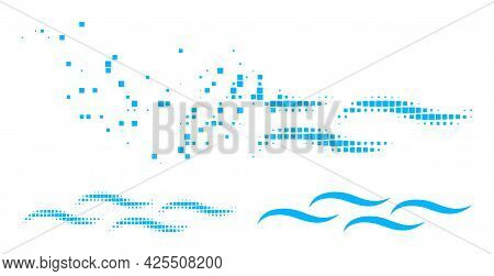 Dust Pixelated Water Surface Pictogram With Halftone Version. Vector Wind Effect For Water Surface P