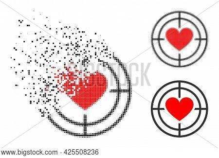 Fragmented Pixelated Love Target Icon With Halftone Version. Vector Destruction Effect For Love Targ