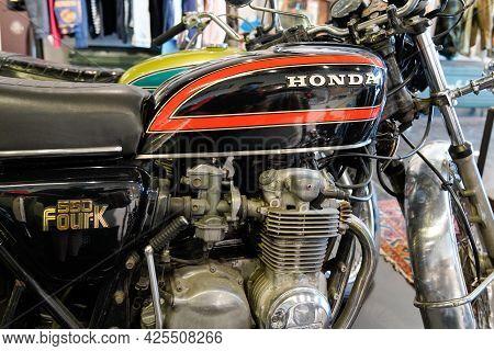Sète , Ocitanie France  - 06 30 2021 : Honda Cb550 Four K Logo Brand 4 And Text Sign On Retro Motorc