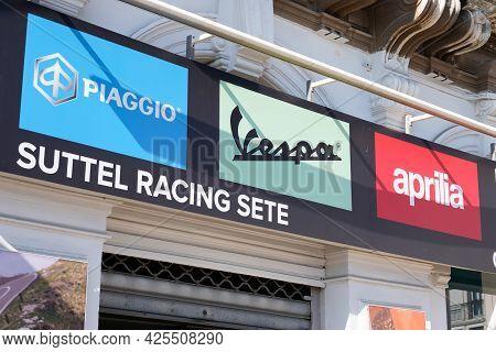 Sète , Ocitanie France  - 06 30 2021 : Piaggio Vespa And Aprilia Dealership Sign Text And Brand Logo