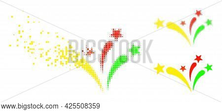 Erosion Dotted Star Fireworks Icon With Halftone Version. Vector Wind Effect For Star Fireworks Icon