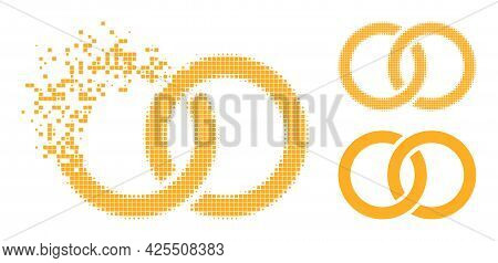 Erosion Pixelated Marriage Rings Pictogram With Halftone Version. Vector Destruction Effect For Marr