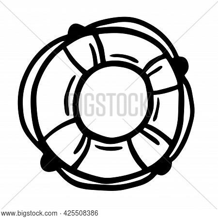 Hand Drawn Lifebuoy Isolated On A White Background. Doodle, Simple Outline Illustration. It Can Be U