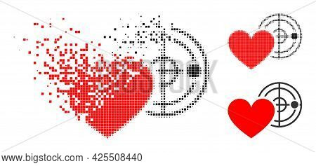 Disappearing Dot Love Heart Radar Pictogram With Halftone Version. Vector Destruction Effect For Lov