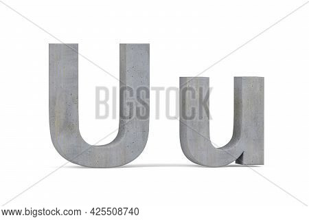 Concrete 3d Letter U - Three Dimensional Uppercase And Lowercase U Covered With Concrete Texture On