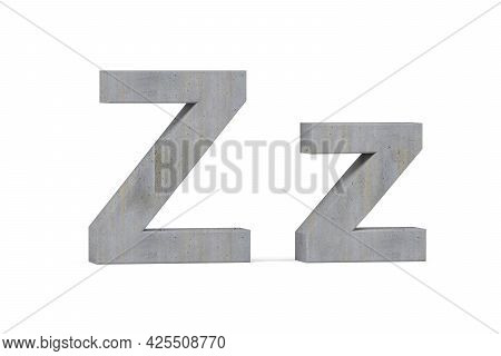 Concrete 3d Letter Z - Three Dimensional Uppercase And Lowercase Z Covered With Concrete Texture On
