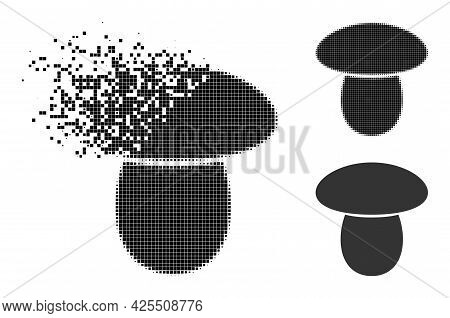 Disappearing Pixelated Mushroom Glyph With Halftone Version. Vector Destruction Effect For Mushroom
