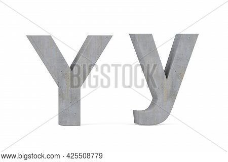 Concrete 3d Letter Y - Three Dimensional Uppercase And Lowercase Y Covered With Concrete Texture On
