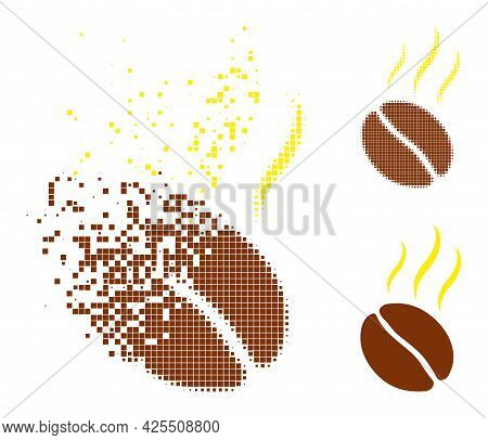 Dispersed Dotted Aroma Coffee Bean Icon With Halftone Version. Vector Destruction Effect For Aroma C