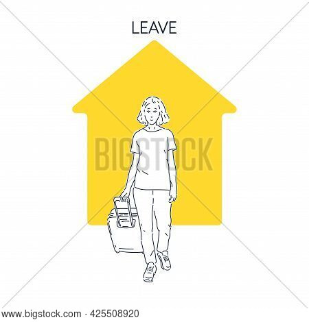 A Girl With A Suitcase Goes On A Trip And At Home. A Young Woman Is About To Leave For A Trip.