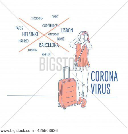 Coronavirus. Ban On Entry To Various Countries Due To The Pandemic. A Girl With A Suitcase Cant Go O