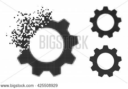 Moving Pixelated Gearwheel Glyph With Halftone Version. Vector Wind Effect For Gearwheel Symbol. Pix