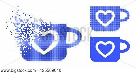 Dispersed Dotted Favourite Cup Icon With Halftone Version. Vector Wind Effect For Favourite Cup Icon