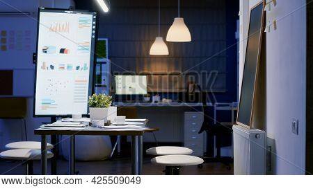 Modern Empty Business Corporate Office Meeting Room Ready For Businesspeople Late At Night. In Backg