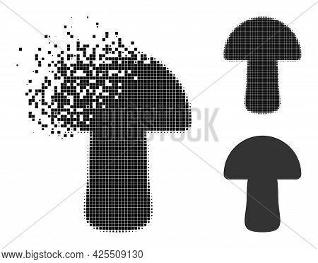 Dissolved Pixelated Mushroom Pictogram With Halftone Version. Vector Destruction Effect For Mushroom