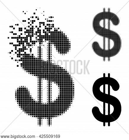 Disappearing Dot Dollar Glyph With Halftone Version. Vector Wind Effect For Dollar Symbol. Pixel Dis