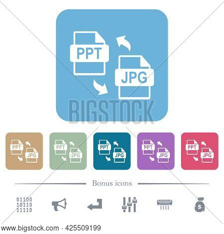 Ppt Jpg File Conversion White Flat Icons On Color Rounded Square Backgrounds. 6 Bonus Icons Included