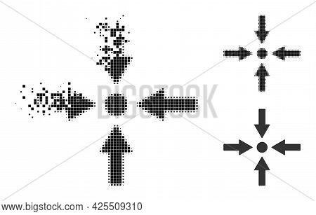 Moving Pixelated Meeting Point Pictogram With Halftone Version. Vector Wind Effect For Meeting Point