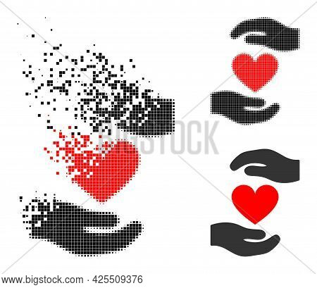 Disappearing Pixelated Love Heart Hands Protection Pictogram With Halftone Version. Vector Destructi