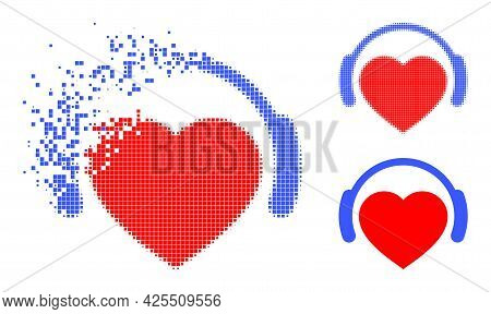Disintegrating Dotted Romantic Heart Dj Icon With Halftone Version. Vector Wind Effect For Romantic