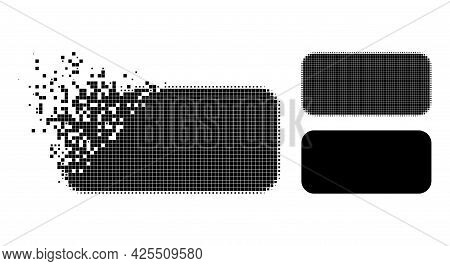 Damaged Dot Rounded Rectangle Pictogram With Halftone Version. Vector Wind Effect For Rounded Rectan