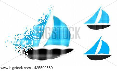 Dispersed Dot Sailing Boat Icon With Halftone Version. Vector Wind Effect For Sailing Boat Icon. Pix