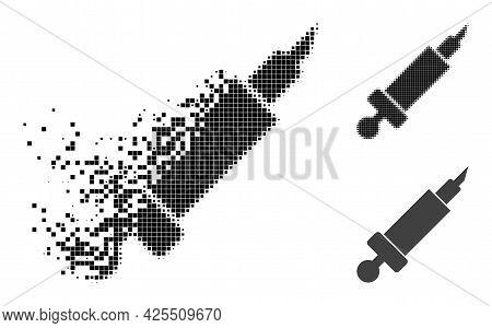 Dissolving Dot Syringe Pictogram With Halftone Version. Vector Wind Effect For Syringe Pictogram. Pi