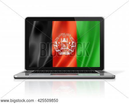 Afghanistan Flag On Laptop Screen Isolated On White. 3d Illustration Render.