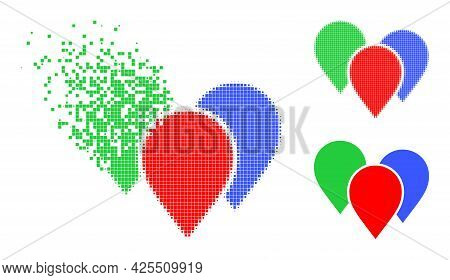 Moving Dot Map Pointer Group Pictogram With Halftone Version. Vector Wind Effect For Map Pointer Gro
