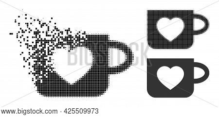Dust Pixelated Favourite Cup Icon With Halftone Version. Vector Destruction Effect For Favourite Cup