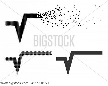 Fractured Pixelated Square Root Icon With Halftone Version. Vector Destruction Effect For Square Roo