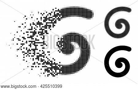 Dust Dot Spiral Pictogram With Halftone Version. Vector Destruction Effect For Spiral Pictogram. Pix